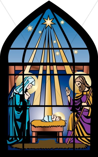Stained Glass clipart manger scene Stained Nativity Nativity Clipart Stained