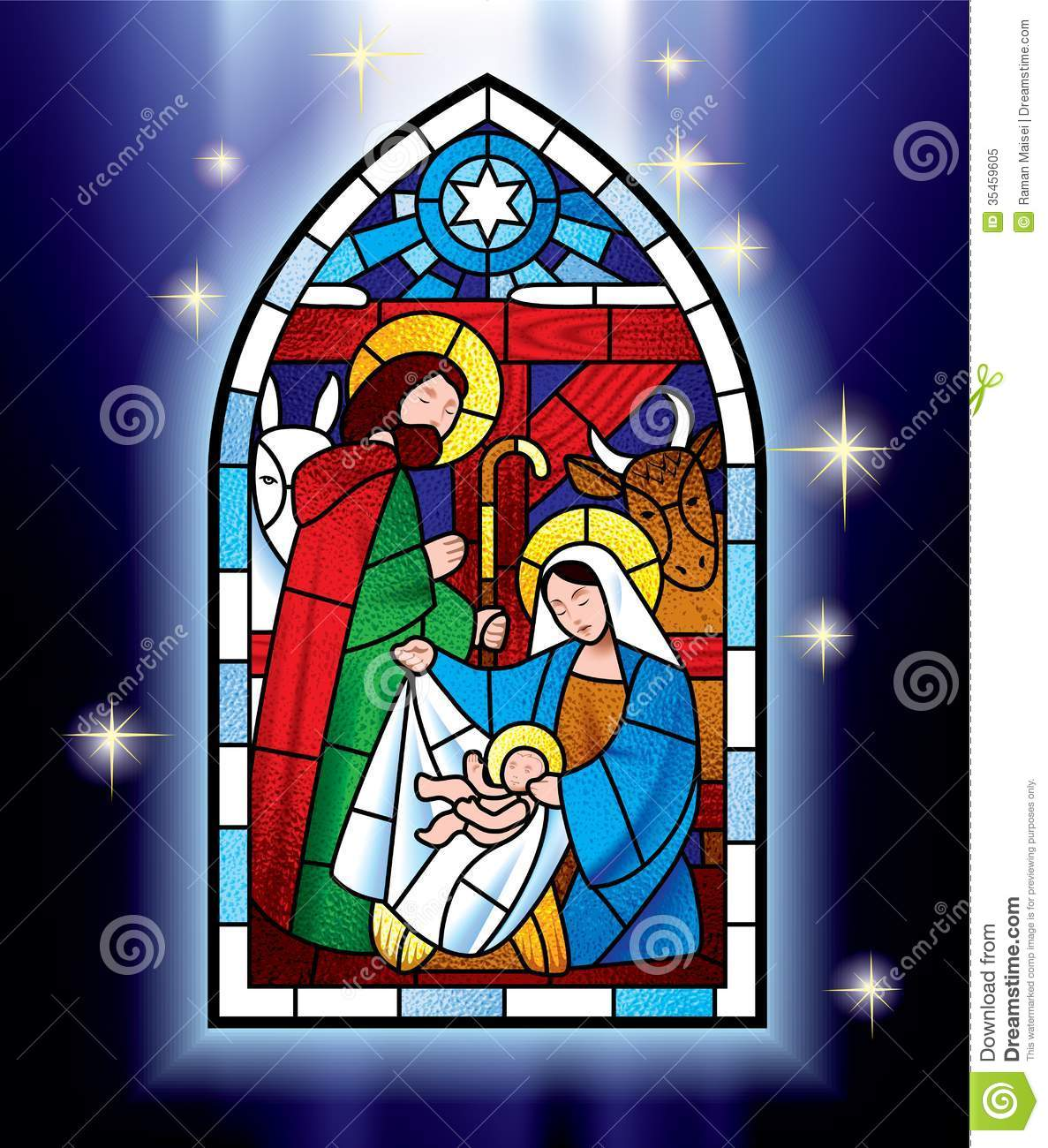 Stained Glass clipart manger scene Christmas  stained Windows window
