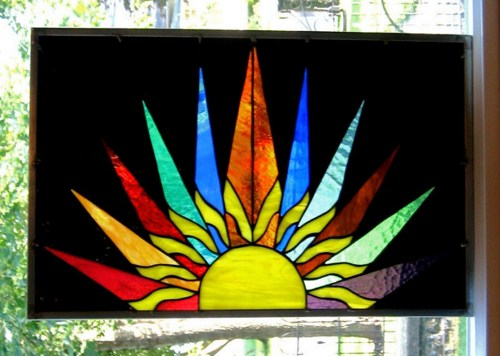 Stained Glass clipart dove peace Abstract Sunburst EBSQ Panel Window