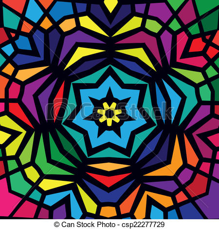 Stained Glass clipart vector Design Colorful Colorful Vector