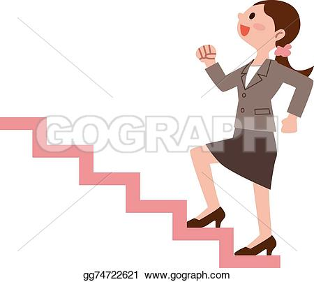 Woman clipart climbing stair Stairs the woman climb stairs