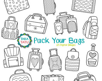 Stamp clipart luggage #14