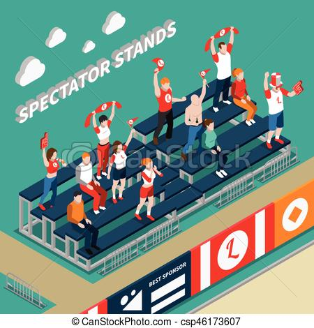 Stands clipart spectator Isometric Isometric With Stands Vector