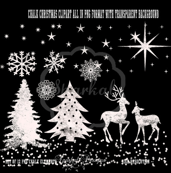 Christmas Tree clipart chalkboard Snow Res Art Invitations for