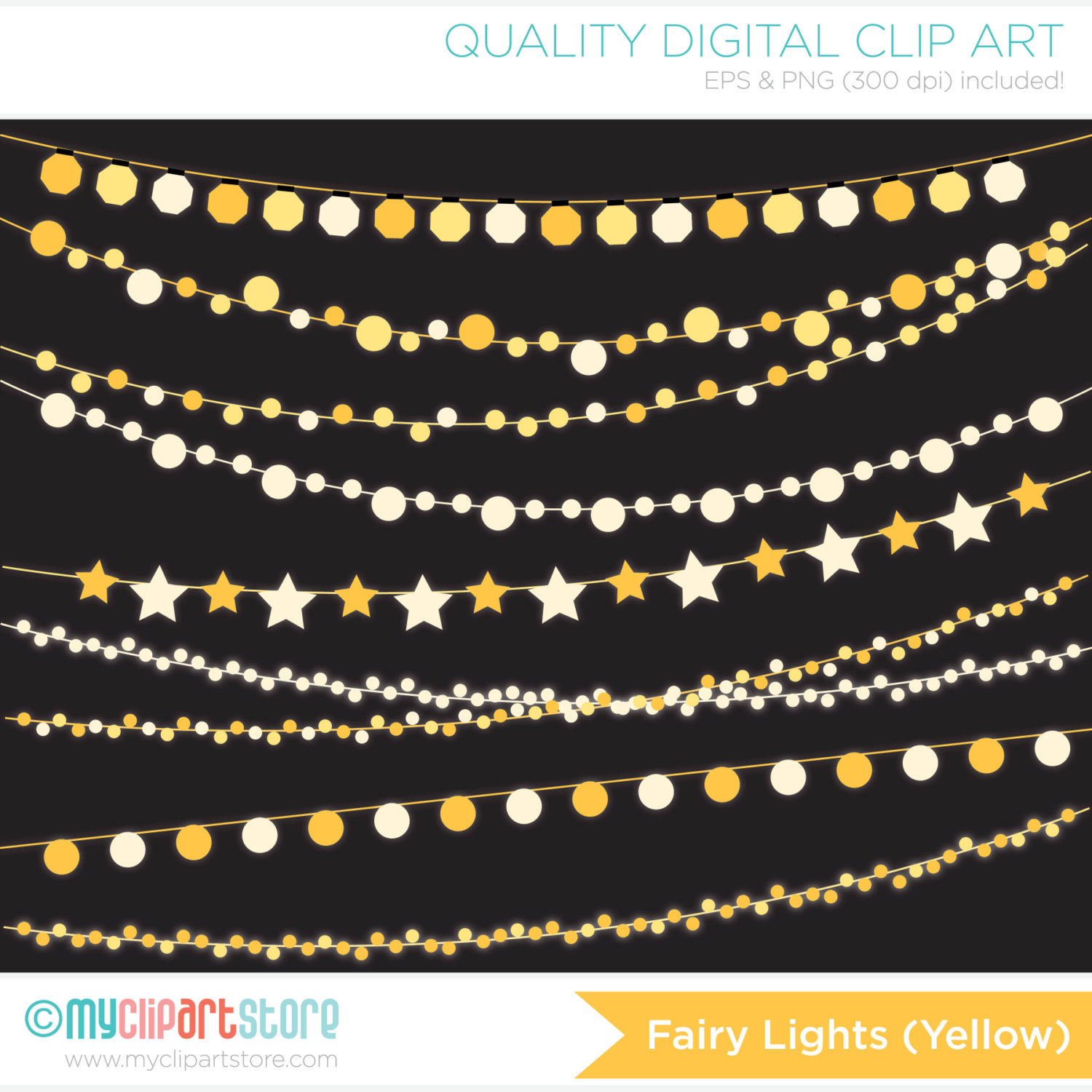 Yellow clipart string light / clipart / Lights Bunting