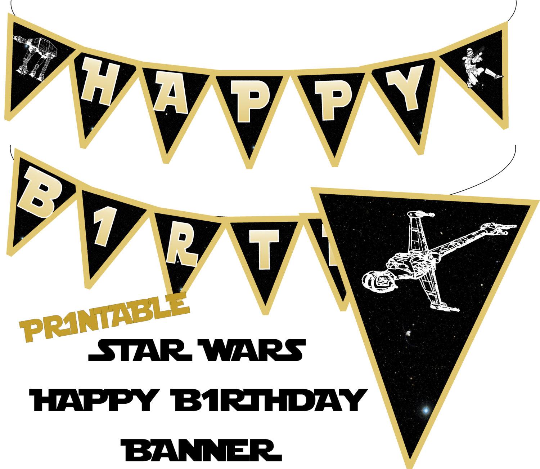 Star Wars clipart birthday party Happy Star Galaxy Banner Birthday
