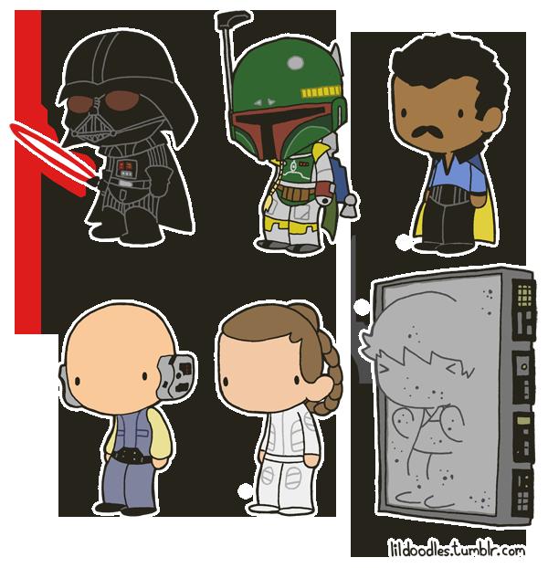 Star Wars clipart doodles Pack png Lil' Vader pack!