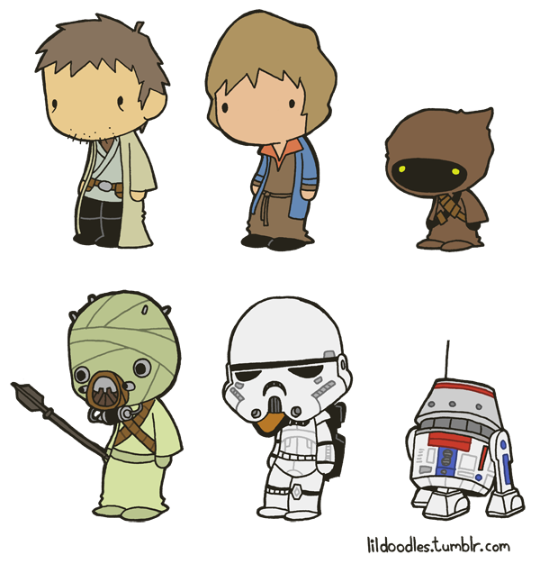 Star Wars clipart doodles Includes Wastes png Owen pack