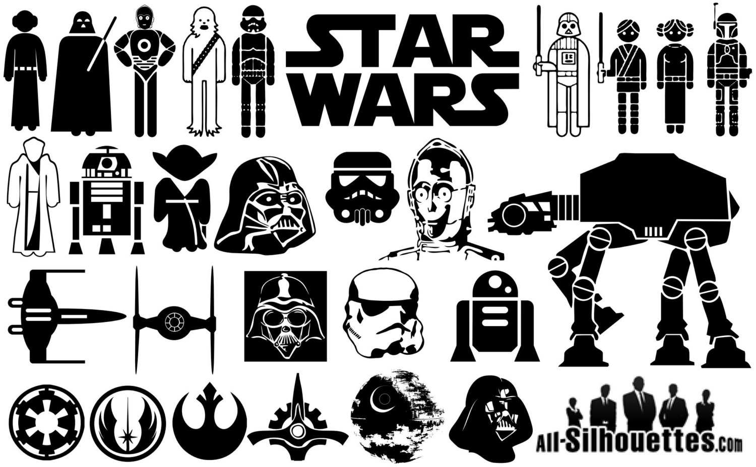 Star Wars clipart family Cut Silhouette Pack Clipart Star