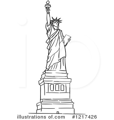 Statue Of Liberty clipart flag By Statue Free Royalty Vector