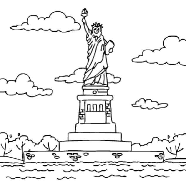 Drawn statue of liberty united states Pages States coloring States United