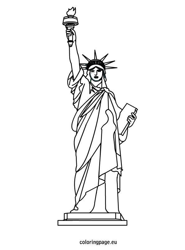 Drawn statue of liberty outline Page for classroom  liberty