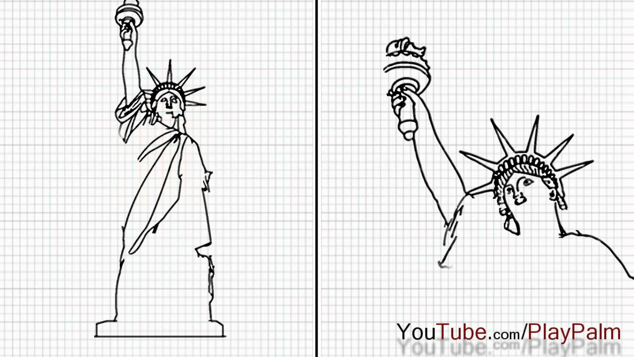 Drawn statue of liberty simple To Of Draw Draw How