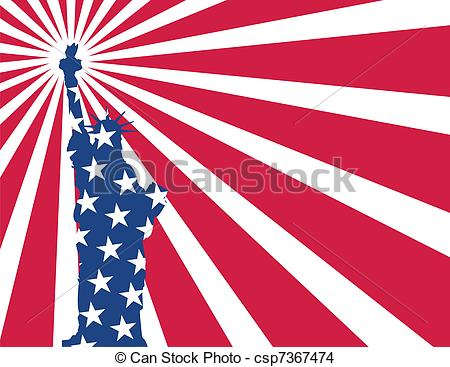 Statue Of Liberty clipart flag Statue flag statue Vector of