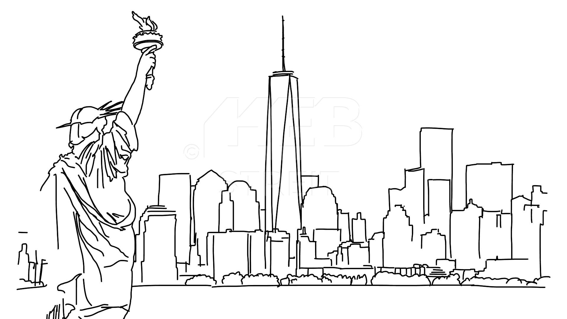Statue Of Liberty clipart hand With Liberty Outline Drawn Liberty