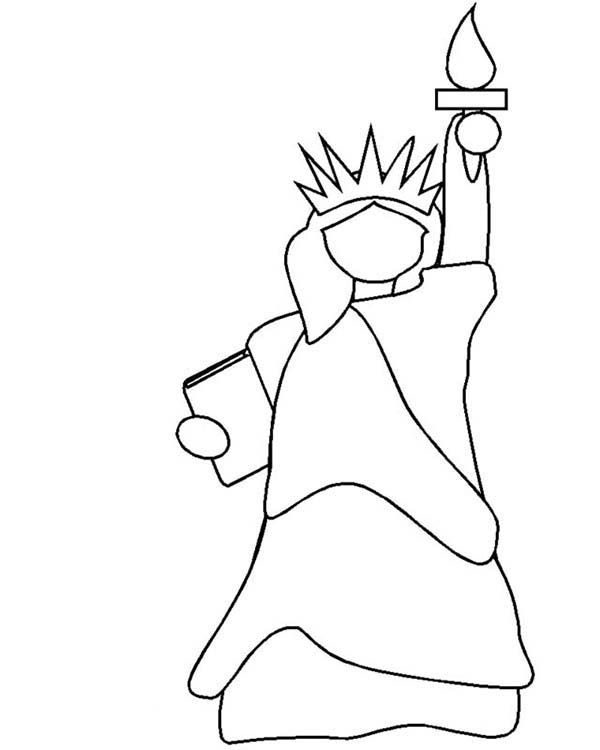 Drawn statue of liberty simple Coloring Statue Clip Art Page: