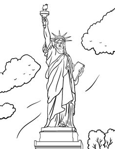 Drawn statue of liberty coloring page Free http://coloringcafe Printable to