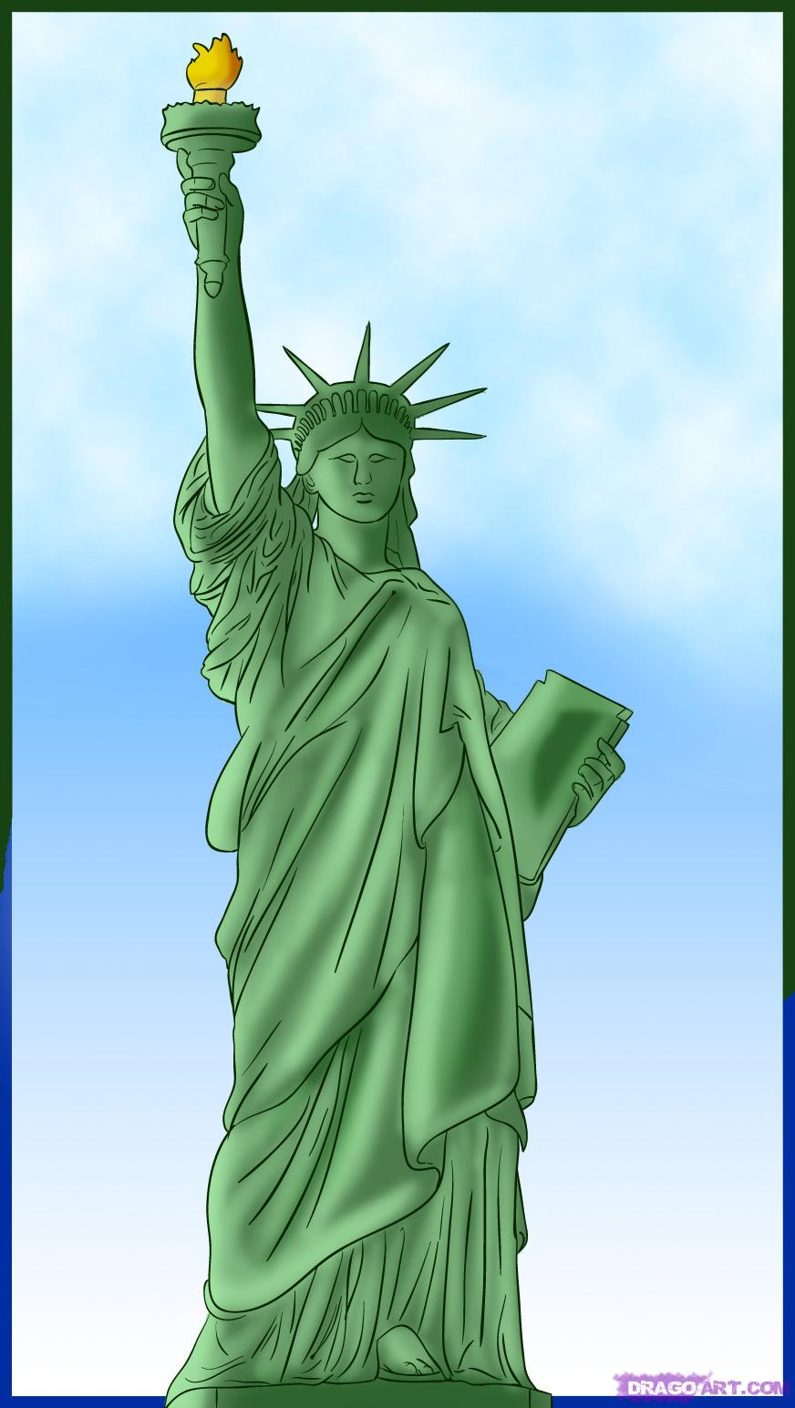 Drawn statue of liberty sculpture Draw Art Statue Step Liberty