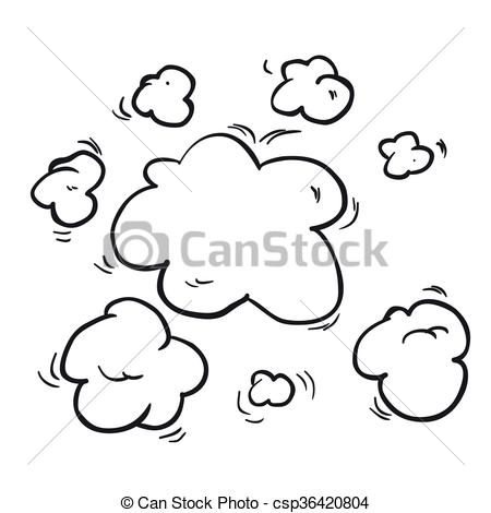Steam clipart black and white Drawn Vector white cartoon freehand