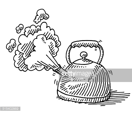 Steam clipart black and white Boiling black Teapot collection white