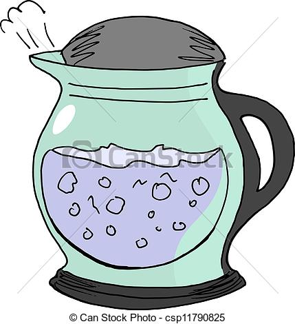 Steam clipart electric kettle Vector electric Illustration an drawn