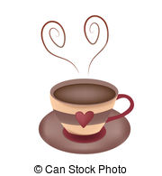 Steam clipart hot coffee Heart with EPS coffee shaped