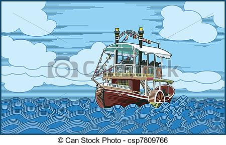 Steam clipart paddle boat Vector boat) (paddle ship a