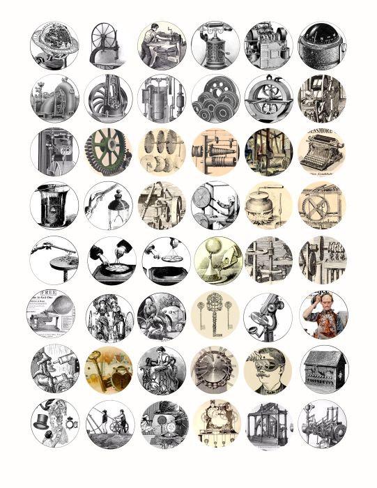 Steampunk clipart Inch machines circles Clip antique