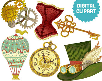 Steampunk clipart Print Digital Victorian Goggles STEAMPUNK