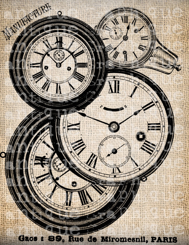 Steampunk clipart antique clock Papercrafts Piece Digital Clock Clock