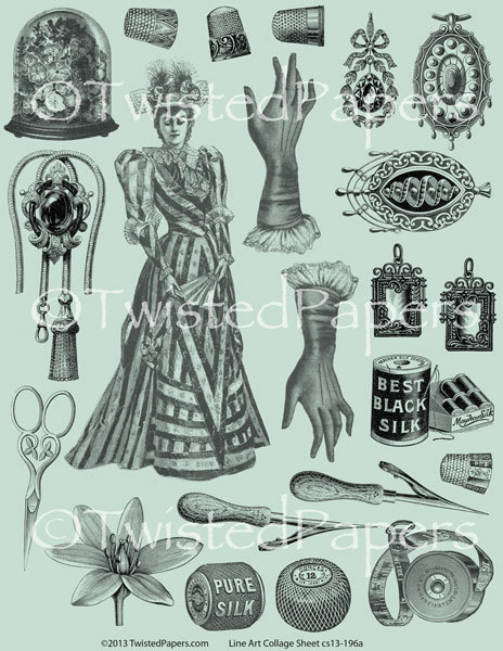 Steampunk clipart black and white Clip Art  Mixed White