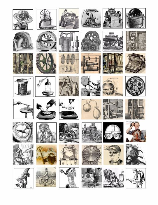 Steampunk clipart invention Sheet collage images art clip