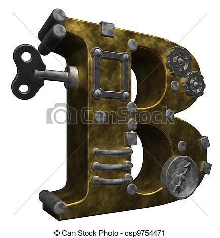 Steampunk clipart letter Illustration of 3d b Clipart