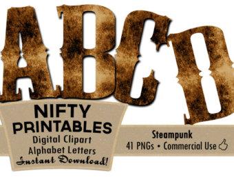 Steampunk clipart letter Clip Brown Alphabet Art Shabby