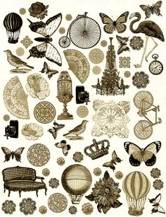 Steampunk clipart printable CollageSheet deviantART Empire on by