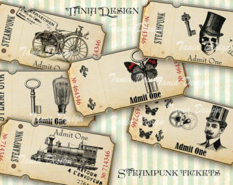 Steampunk clipart printable Art Embellishment sheet Ephemera Digital