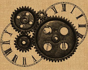 Steampunk clipart safari Transfer Print Art Antique Gears