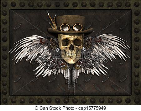 Drawn skull steampunk Skull metal plate 3 Illustrations