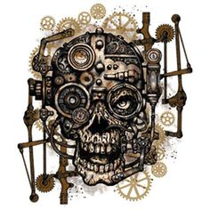 Drawn skull steampunk Steampunk Shirt stock grunge :
