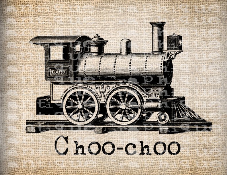 Steampunk clipart train Victorian Antique Era Papercrafts Transfer