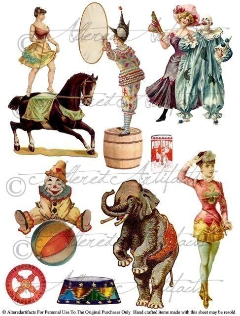 Carneval clipart retro Digital Puppet Clowns your AlteredArtifacts