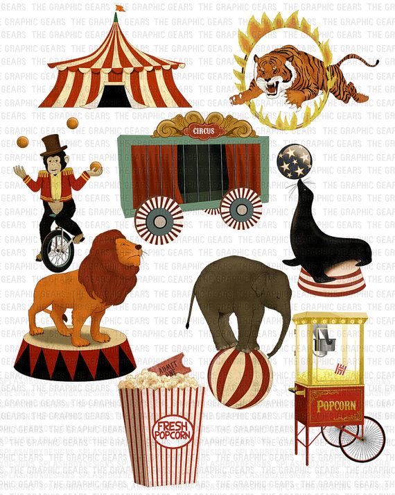 Carneval clipart retro Circus Art by art GraphicGears
