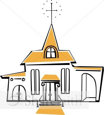 Steeple clipart Church  Yellow Church White