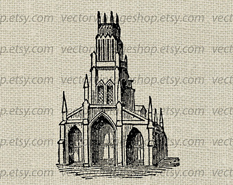 Steeple clipart medieval church Illustration Digital Etsy Church Building