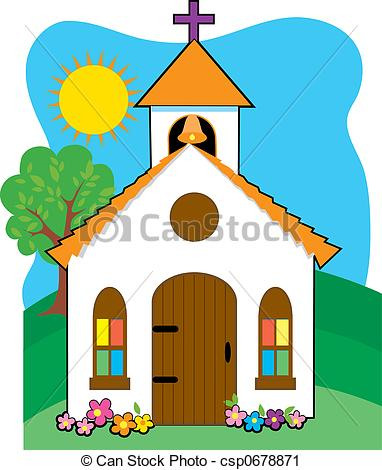 Steeple clipart small church Grassy  church country hill