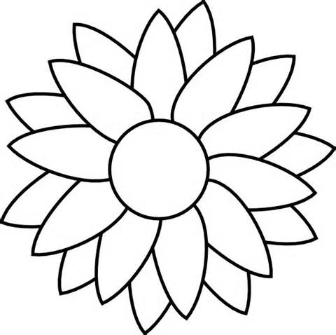 Petal clipart flower coloring Image stencils Crafts simple Search