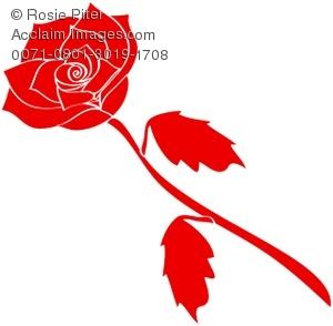 Stem clipart long stem rose Of on Background on White