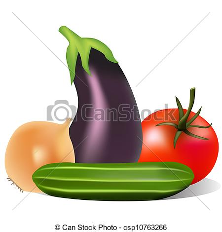 Still Life clipart Of eggplant eggplant onion tomato