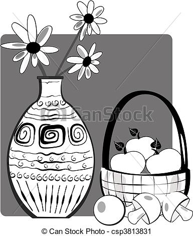 Still Life clipart With Art Vector csp3813831 Flowers