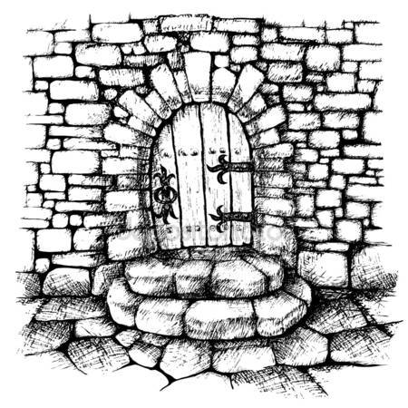 Stone Wall clipart black and white Stone Vector scatch Arched Illustrations